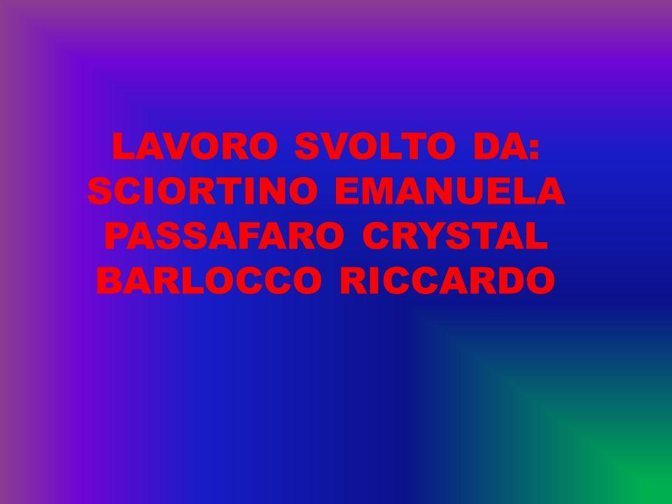 LAVORO SVOLTO DA: SCIORTINO EMANUELA PASSAFARO CRYSTAL BARLOCCO RICCARDO