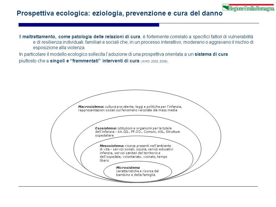 Prospettiva ecologica: eziologia, prevenzione e cura del danno Il maltrattamento, come patologia delle relazioni di cura, è fortemente correlato a spe