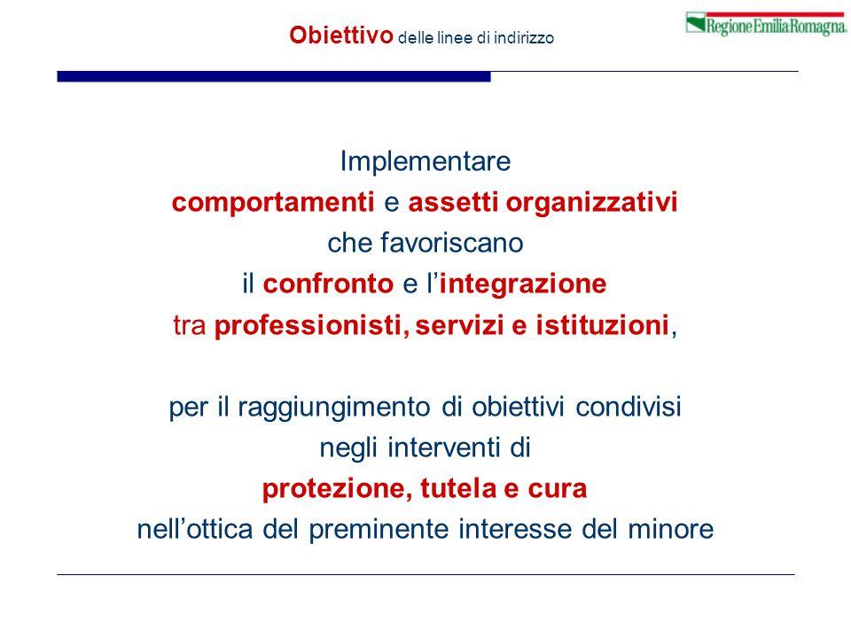 Obiettivo delle linee di indirizzo Implementare comportamenti e assetti organizzativi che favoriscano il confronto e l'integrazione tra professionisti