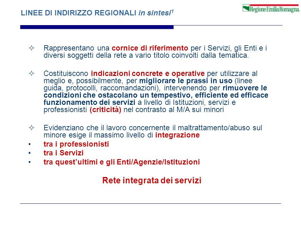 LINEE DI INDIRIZZO REGIONALI in sintesi 1  Rappresentano una cornice di riferimento per i Servizi, gli Enti e i diversi soggetti della rete a vario t