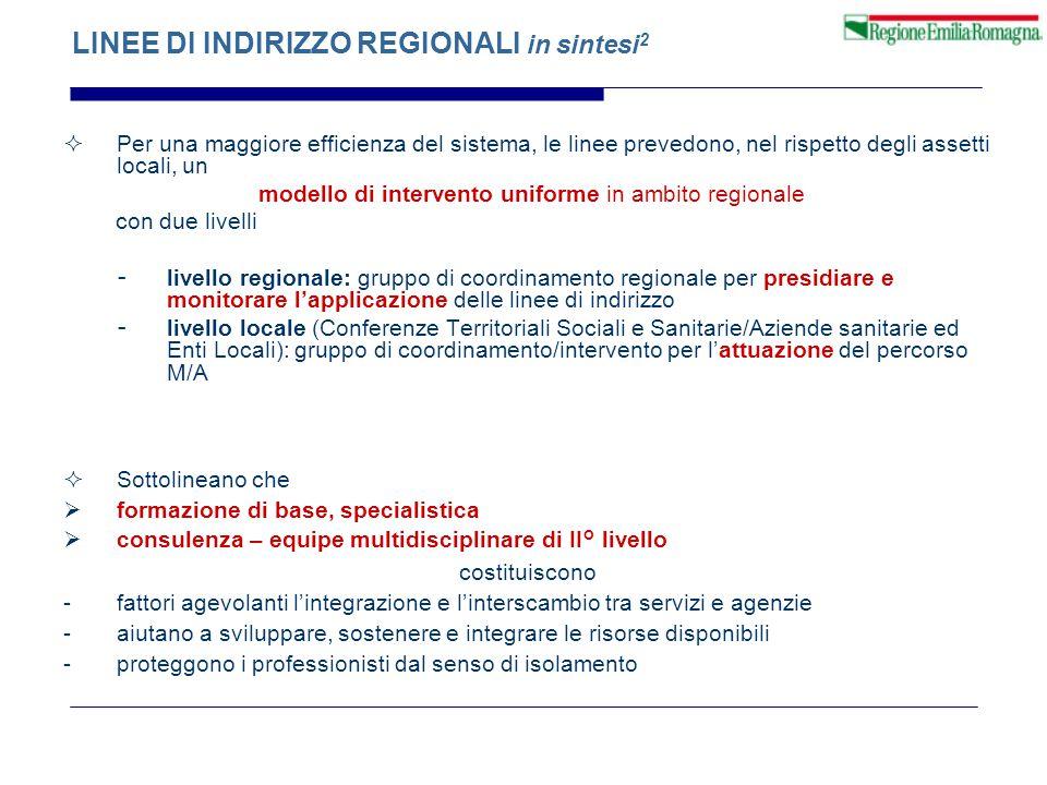 LINEE DI INDIRIZZO REGIONALI in sintesi 2  Per una maggiore efficienza del sistema, le linee prevedono, nel rispetto degli assetti locali, un modello