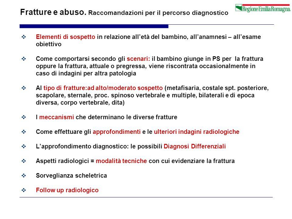 Fratture e abuso. Raccomandazioni per il percorso diagnostico  Elementi di sospetto in relazione all'età del bambino, all'anamnesi – all'esame obiett