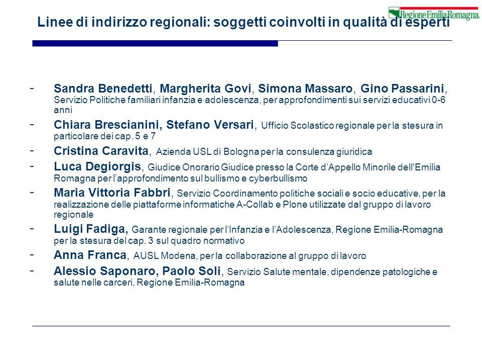 Linee di indirizzo regionali: soggetti coinvolti in qualità di esperti - Sandra Benedetti, Margherita Govi, Simona Massaro, Gino Passarini, Servizio P