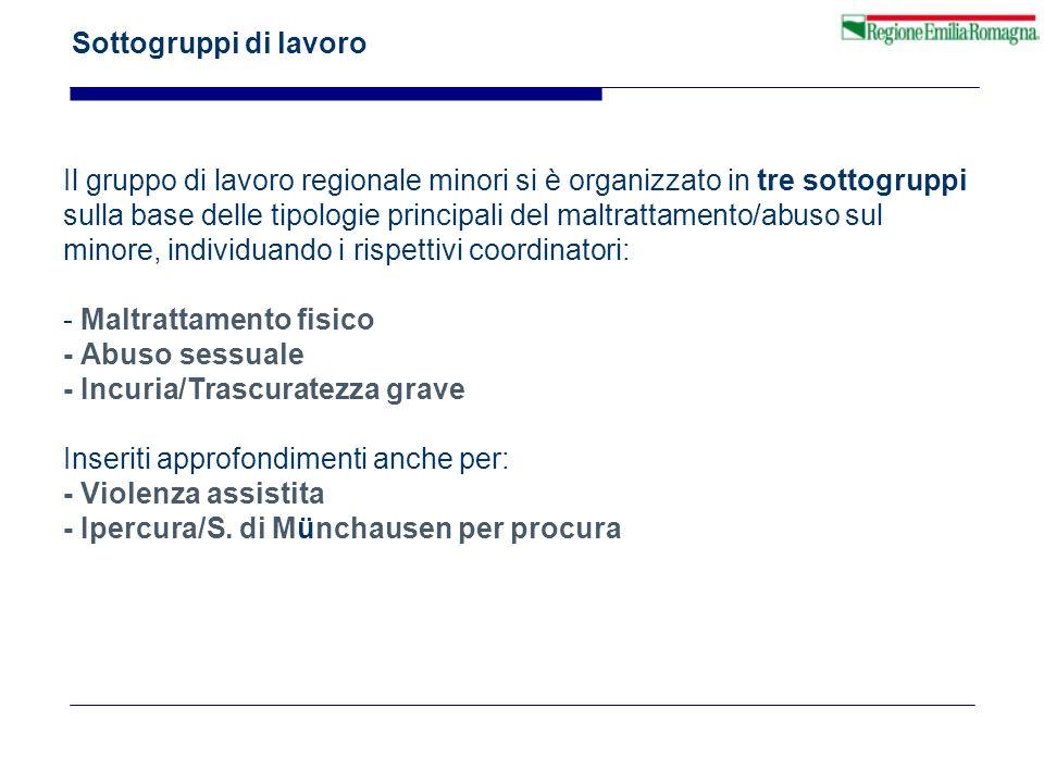 Sottogruppi di lavoro Il gruppo di lavoro regionale minori si è organizzato in tre sottogruppi sulla base delle tipologie principali del maltrattament