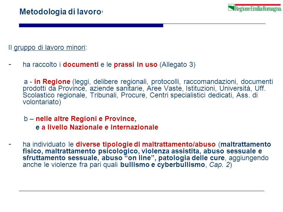 Metodologia di lavoro 1 Il gruppo di lavoro minori: - ha raccolto i documenti e le prassi in uso (Allegato 3) a - in Regione (leggi, delibere regional