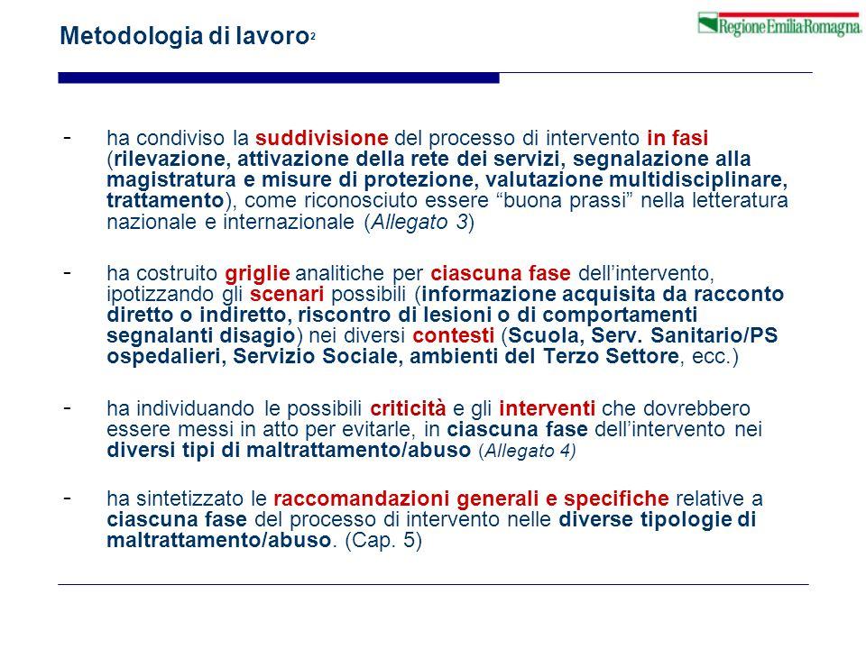 Metodologia di lavoro 2 - ha condiviso la suddivisione del processo di intervento in fasi (rilevazione, attivazione della rete dei servizi, segnalazio