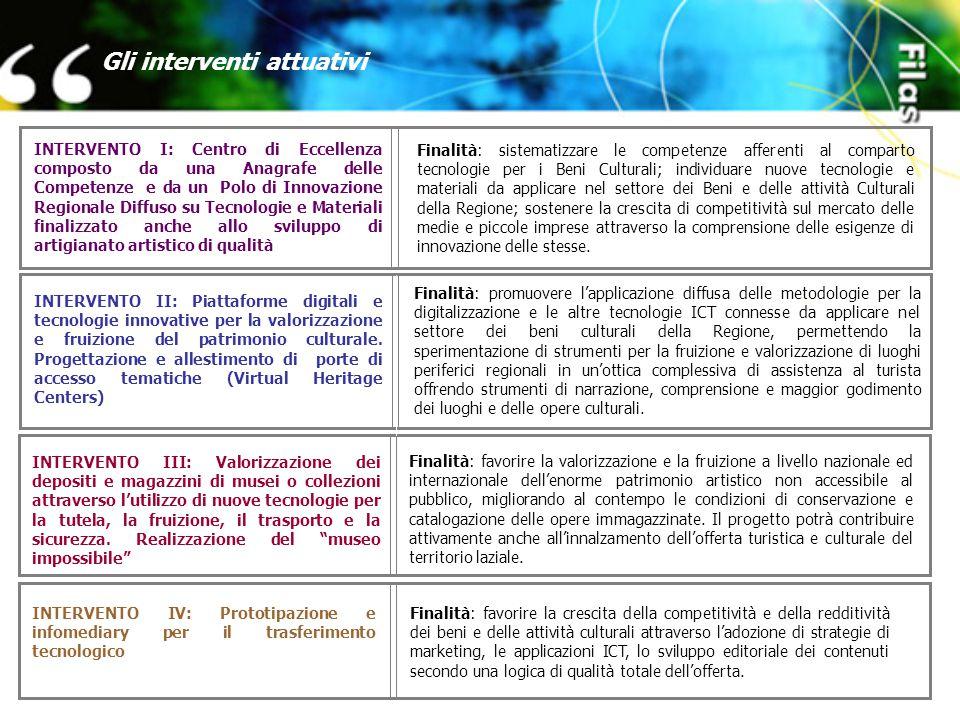 Gli interventi attuativi Finalità: sistematizzare le competenze afferenti al comparto tecnologie per i Beni Culturali; individuare nuove tecnologie e