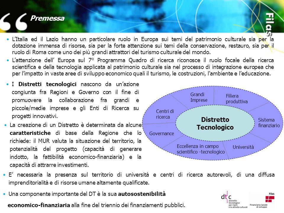 Fonti di finanziamento Il Distretto Tecnologico della Cultura ha a disposizione una serie di fonti finanziare finalizzate a sostenere la realizzazione delle diverse attività per la ricerca e l'innovazione, quali:  Comunitarie (VII Programma Quadro della ricerca; Programma Quadro per la competitività e l innovazione);  Nazionali (Fondi CIPE 3/2006 per il periodo 2005/2009; Fondi MUR ai sensi del D.