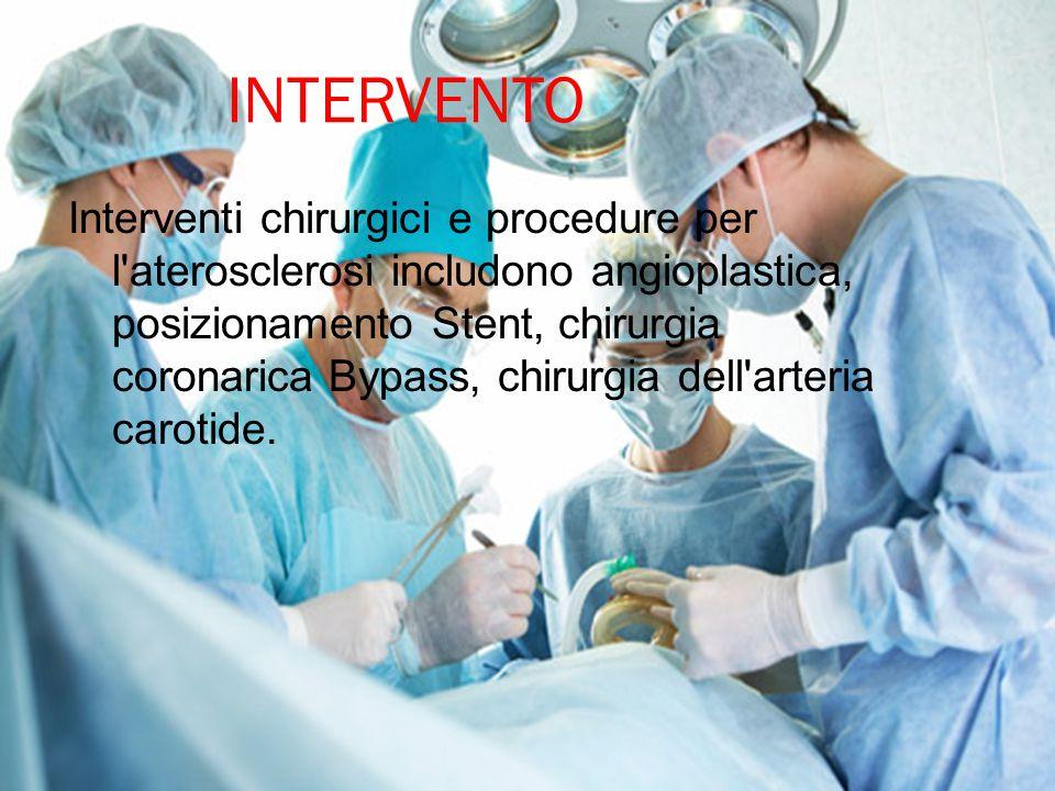 INTERVENTO Interventi chirurgici e procedure per l'aterosclerosi includono angioplastica, posizionamento Stent, chirurgia coronarica Bypass, chirurgia