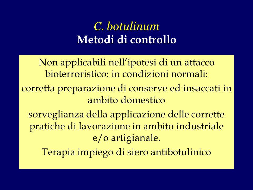 C. botulinum Metodi di controllo Non applicabili nell'ipotesi di un attacco bioterroristico: in condizioni normali: corretta preparazione di conserve