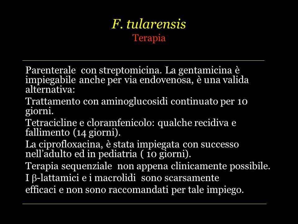 F.tularensis Terapia Parenterale con streptomicina.