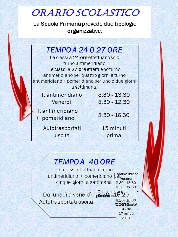 TEMPO A 24 0 27 ORE Le classi a 24 ore effettuano solo turno antimeridiano. Le classi a 27 ore effettuano turno antimeridiano per quattro giorni e tur