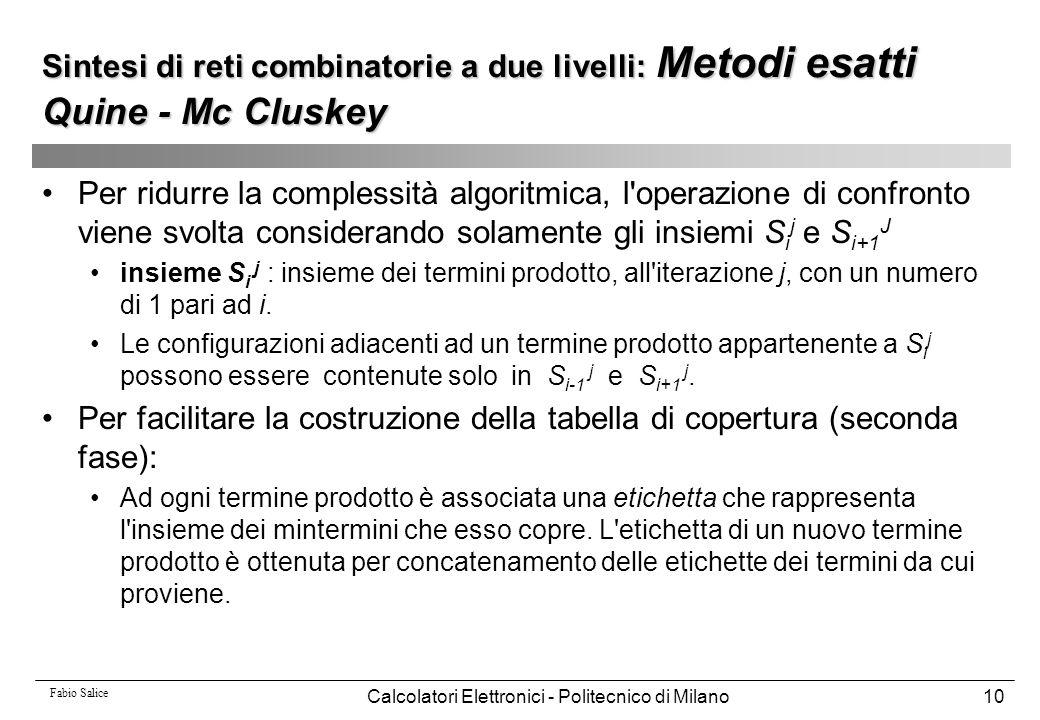 Fabio Salice Calcolatori Elettronici - Politecnico di Milano10 Per ridurre la complessità algoritmica, l'operazione di confronto viene svolta consider