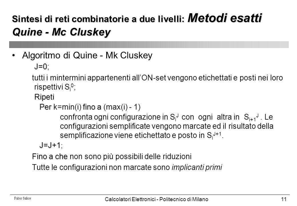 Fabio Salice Calcolatori Elettronici - Politecnico di Milano11 Sintesi di reti combinatorie a due livelli: Metodi esatti Quine - Mc Cluskey Algoritmo