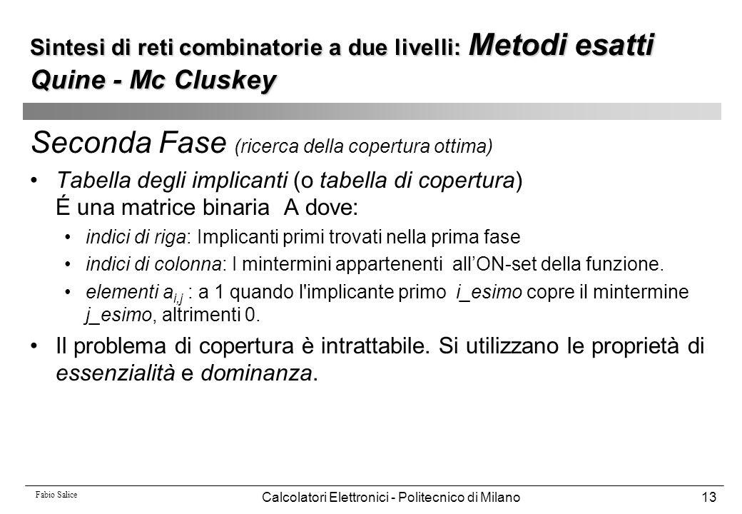 Fabio Salice Calcolatori Elettronici - Politecnico di Milano13 Seconda Fase (ricerca della copertura ottima) Tabella degli implicanti (o tabella di co