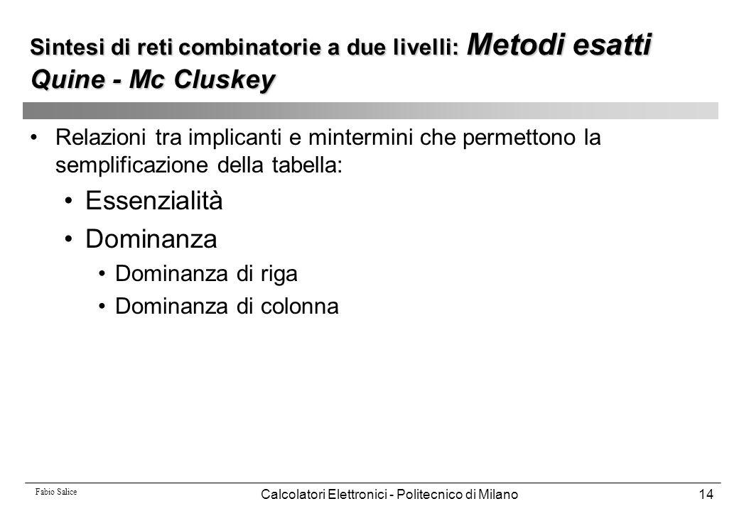 Fabio Salice Calcolatori Elettronici - Politecnico di Milano14 Relazioni tra implicanti e mintermini che permettono la semplificazione della tabella: