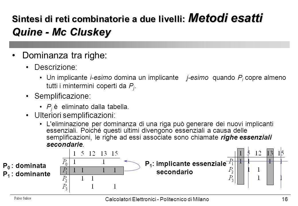 Fabio Salice Calcolatori Elettronici - Politecnico di Milano16 Dominanza tra righe: Descrizione: Un implicante i-esimo domina un implicante j-esimo qu