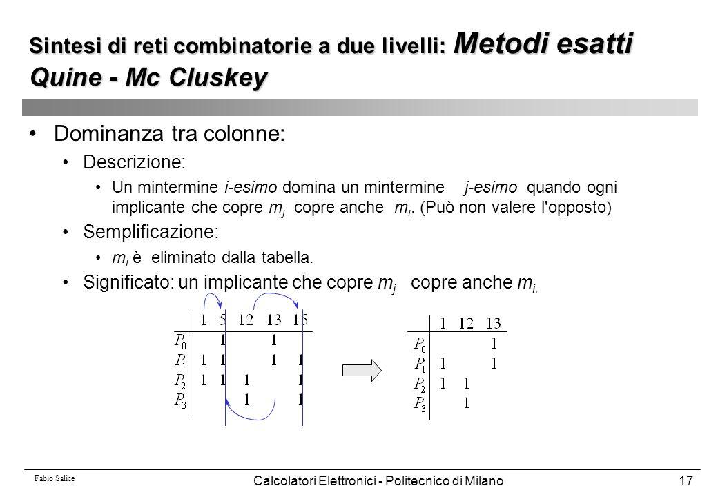 Fabio Salice Calcolatori Elettronici - Politecnico di Milano17 Dominanza tra colonne: Descrizione: Un mintermine i-esimo domina un mintermine j-esimo