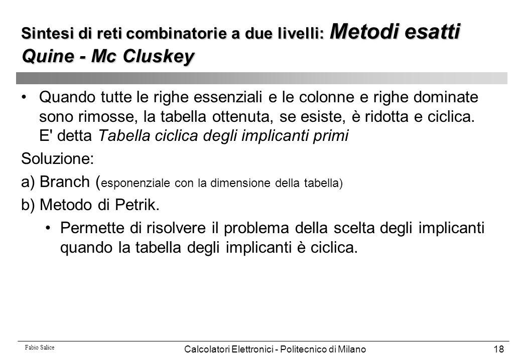 Fabio Salice Calcolatori Elettronici - Politecnico di Milano18 Quando tutte le righe essenziali e le colonne e righe dominate sono rimosse, la tabella