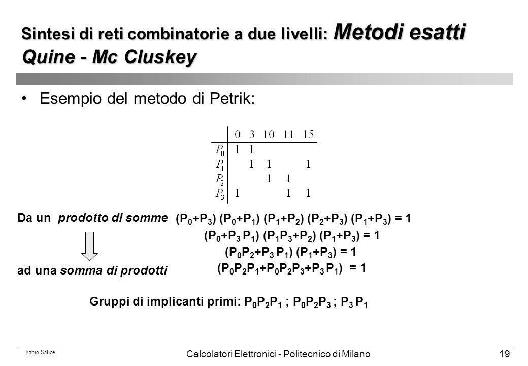 Fabio Salice Calcolatori Elettronici - Politecnico di Milano19 Esempio del metodo di Petrik: (P 0 +P 3 ) (P 0 +P 1 ) (P 1 +P 2 ) (P 2 +P 3 ) (P 1 +P 3