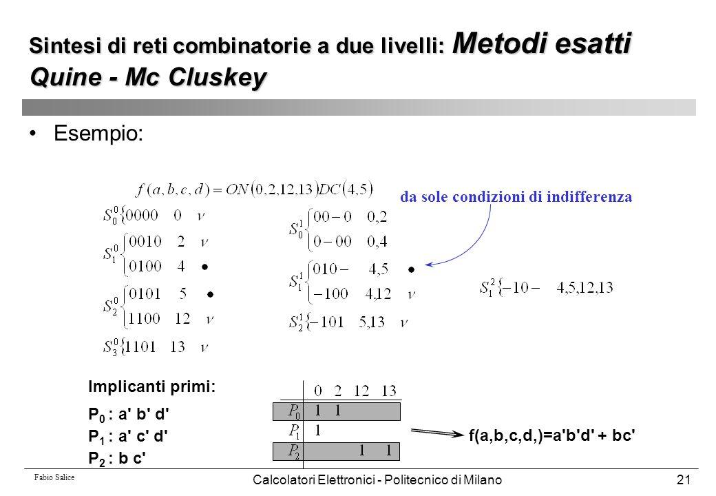 Fabio Salice Calcolatori Elettronici - Politecnico di Milano21 Esempio: da sole condizioni di indifferenza Implicanti primi: P 0 : a' b' d' P 1 : a' c
