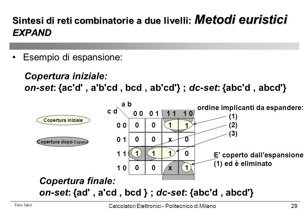 Fabio Salice Calcolatori Elettronici - Politecnico di Milano29 Esempio di espansione: Copertura iniziale: on-set: {ac'd', a'b'cd, bcd, ab'cd'} ; dc-se