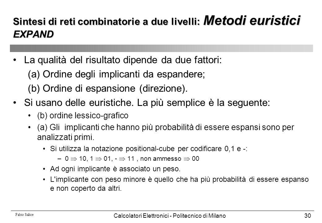 Fabio Salice Calcolatori Elettronici - Politecnico di Milano30 La qualità del risultato dipende da due fattori: (a) Ordine degli implicanti da espande