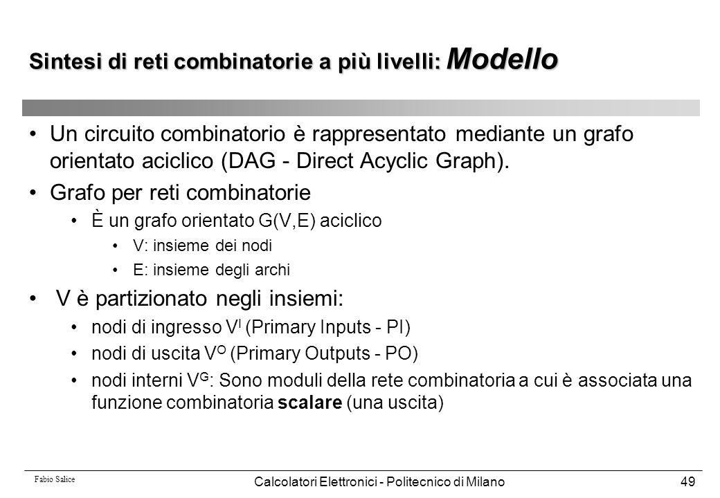 Fabio Salice Calcolatori Elettronici - Politecnico di Milano49 Un circuito combinatorio è rappresentato mediante un grafo orientato aciclico (DAG - Di