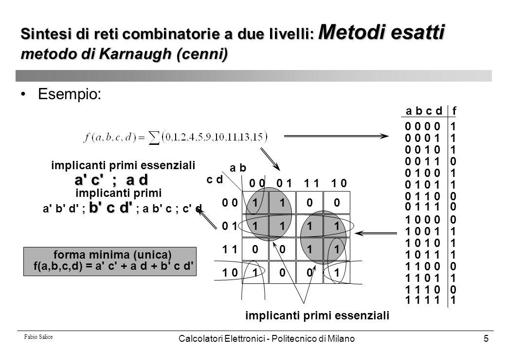 Fabio Salice Calcolatori Elettronici - Politecnico di Milano86 Condizioni di indifferenza esterne DC ext = CDC in  ODC out CDC in e' un vettore di n out componenti pari a CDC in Esempio: x1 x2 a b c y1 y2 rete combinatoria o1 o2 DC ext =CDC in +ODC out = CDC in : x1 x2 non assume mai la configurazione 01  CDC in = x1'x2 ODC out : per x1=0, y1 non è osservabile  ODC out = per x2=0, y2 non è osservabile Sintesi di reti combinatorie a più livelli: Valutazione del DC-set locale