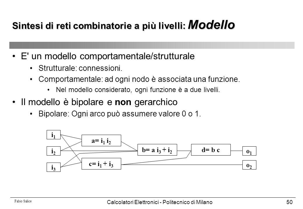 Fabio Salice Calcolatori Elettronici - Politecnico di Milano50 E' un modello comportamentale/strutturale Strutturale: connessioni. Comportamentale: ad