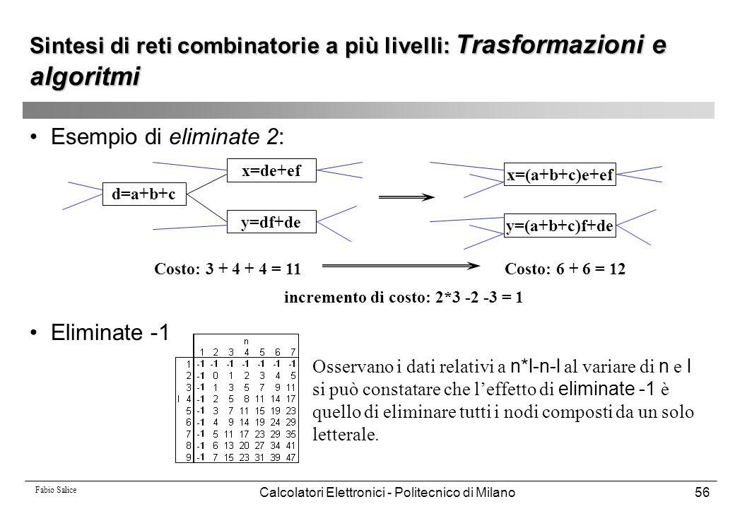 Fabio Salice Calcolatori Elettronici - Politecnico di Milano56 Esempio di eliminate 2: Eliminate -1 d=a+b+c x=de+ef y=df+de x=(a+b+c)e+ef y=(a+b+c)f+d