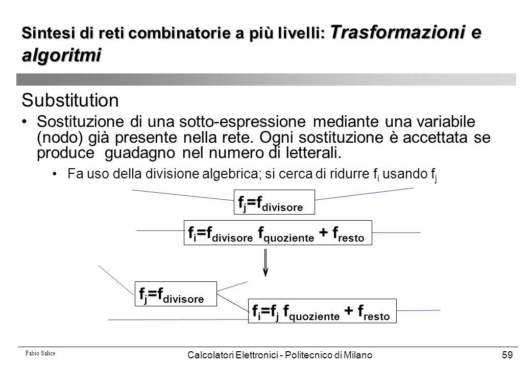 Fabio Salice Calcolatori Elettronici - Politecnico di Milano59 Substitution Sostituzione di una sotto-espressione mediante una variabile (nodo) già pr