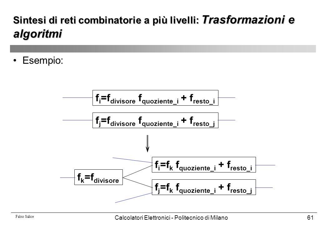 Fabio Salice Calcolatori Elettronici - Politecnico di Milano61 Esempio: f i =f divisore f quoziente_i + f resto_i f j =f divisore f quoziente_i + f re