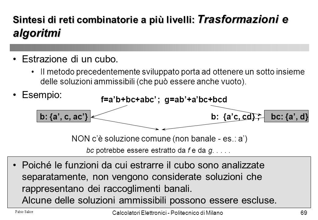 Fabio Salice Calcolatori Elettronici - Politecnico di Milano69 Estrazione di un cubo. Il metodo precedentemente sviluppato porta ad ottenere un sotto