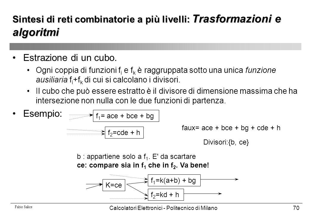 Fabio Salice Calcolatori Elettronici - Politecnico di Milano70 Sintesi di reti combinatorie a più livelli: Trasformazioni e algoritmi Estrazione di un