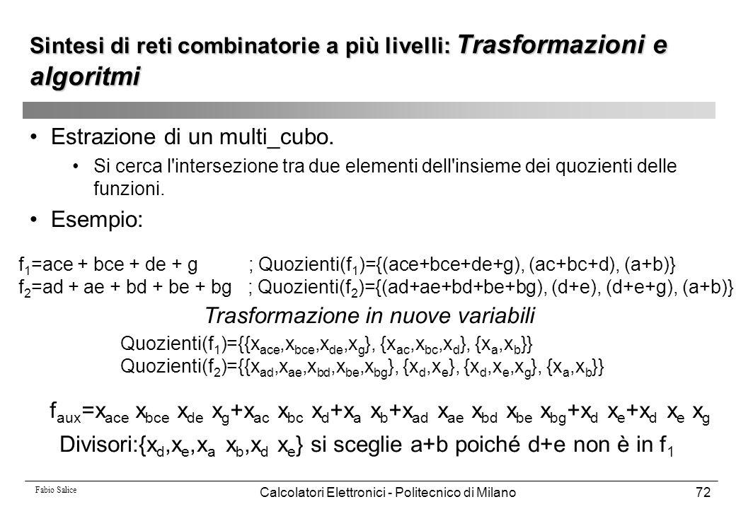 Fabio Salice Calcolatori Elettronici - Politecnico di Milano72 Estrazione di un multi_cubo. Si cerca l'intersezione tra due elementi dell'insieme dei