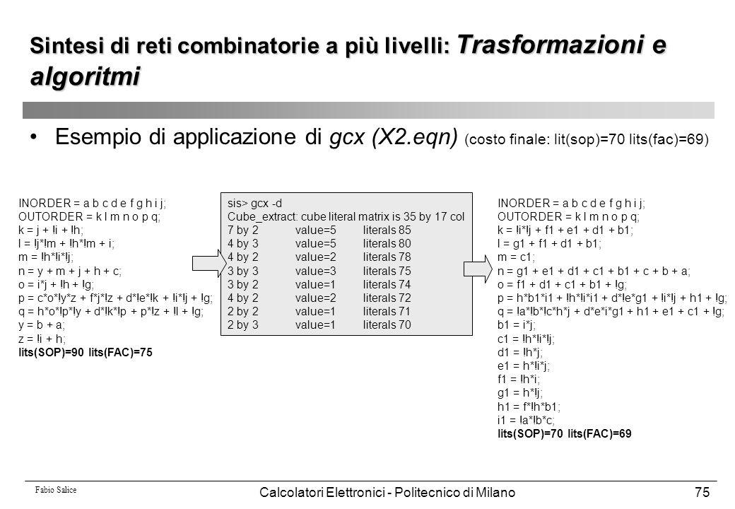 Fabio Salice Calcolatori Elettronici - Politecnico di Milano75 Sintesi di reti combinatorie a più livelli: Trasformazioni e algoritmi Esempio di appli