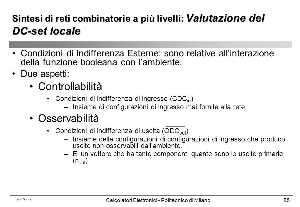 Fabio Salice Calcolatori Elettronici - Politecnico di Milano85 Condizioni di Indifferenza Esterne: sono relative all'interazione della funzione boolea