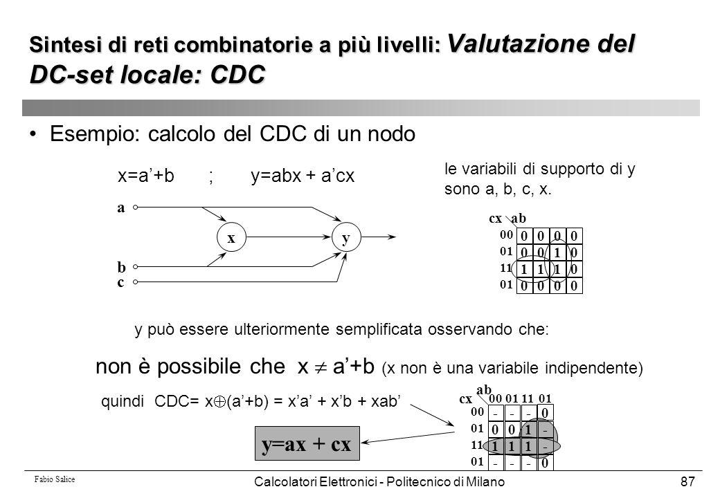 Fabio Salice Calcolatori Elettronici - Politecnico di Milano87 Esempio: calcolo del CDC di un nodo xy a b c x=a'+b ;y=abx + a'cx le variabili di suppo