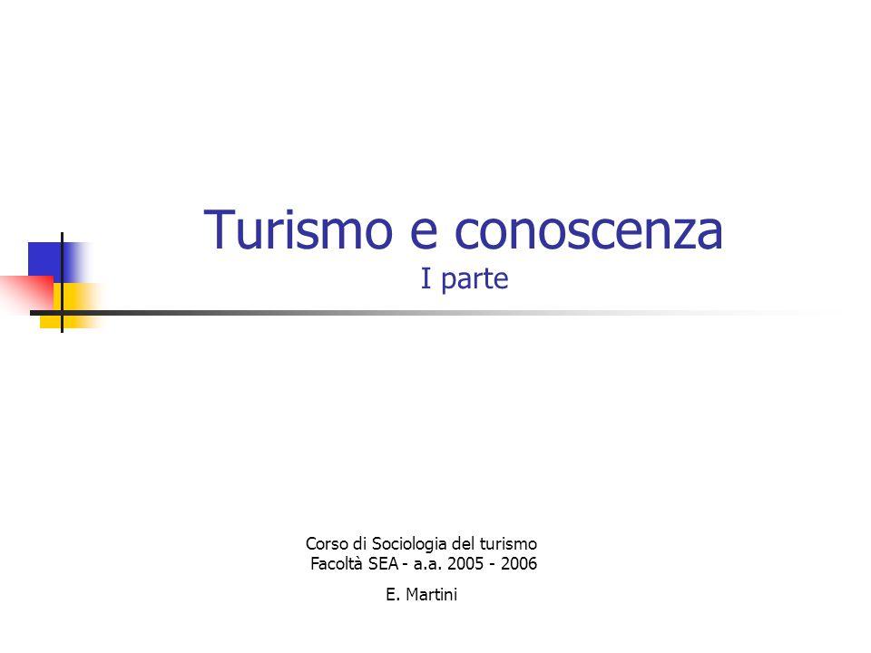 Turismo e conoscenza I parte Corso di Sociologia del turismo Facoltà SEA - a.a.
