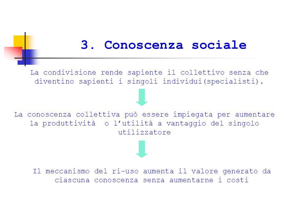 3. Conoscenza sociale La condivisione rende sapiente il collettivo senza che diventino sapienti i singoli individui(specialisti). La conoscenza collet