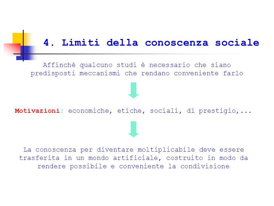 4. Limiti della conoscenza sociale Affinchè qualcuno studi è necessario che siano predisposti meccanismi che rendano conveniente farlo Motivazioni: ec