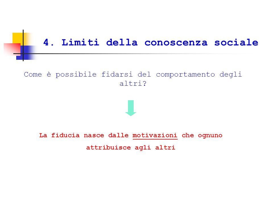 4.Limiti della conoscenza sociale Come è possibile fidarsi del comportamento degli altri.