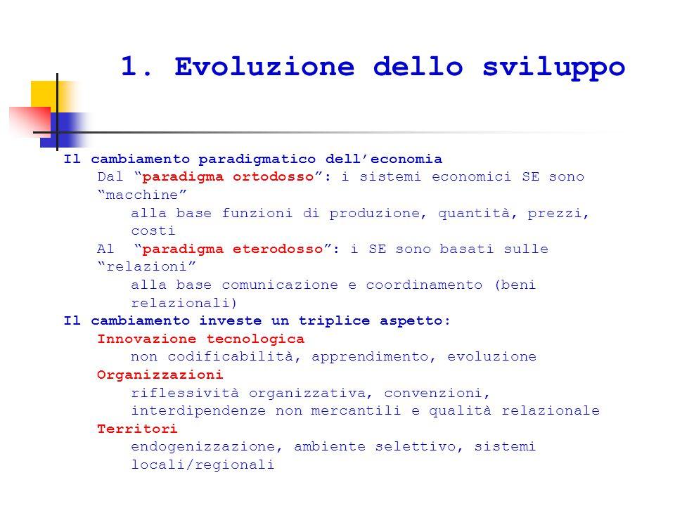 """1. Evoluzione dello sviluppo Il cambiamento paradigmatico dell'economia Dal """"paradigma ortodosso"""": i sistemi economici SE sono """"macchine"""" alla base fu"""