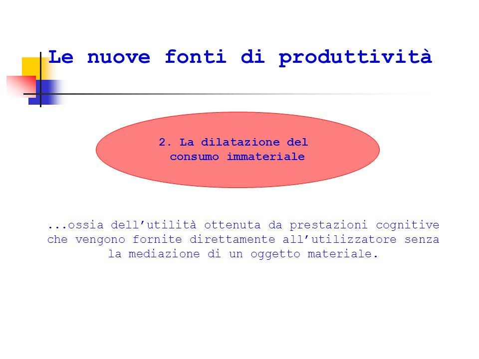 Le nuove fonti di produttività...ossia dell'utilità ottenuta da prestazioni cognitive che vengono fornite direttamente all'utilizzatore senza la mediazione di un oggetto materiale.