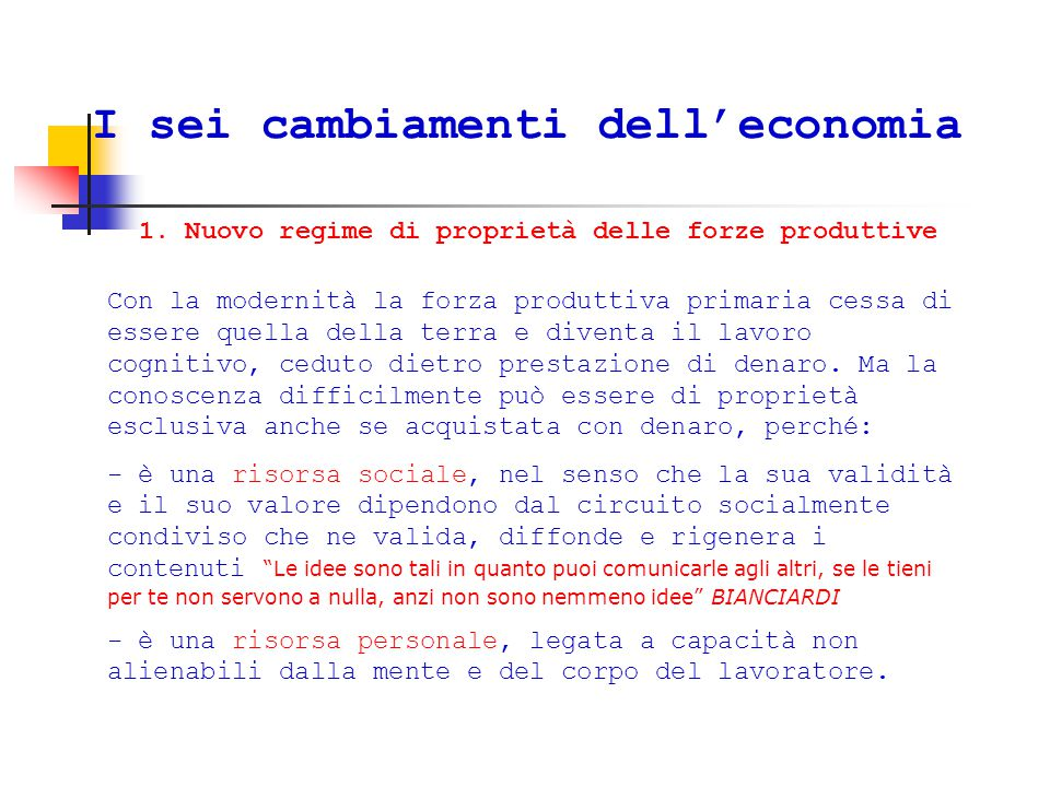 I sei cambiamenti dell'economia 1.