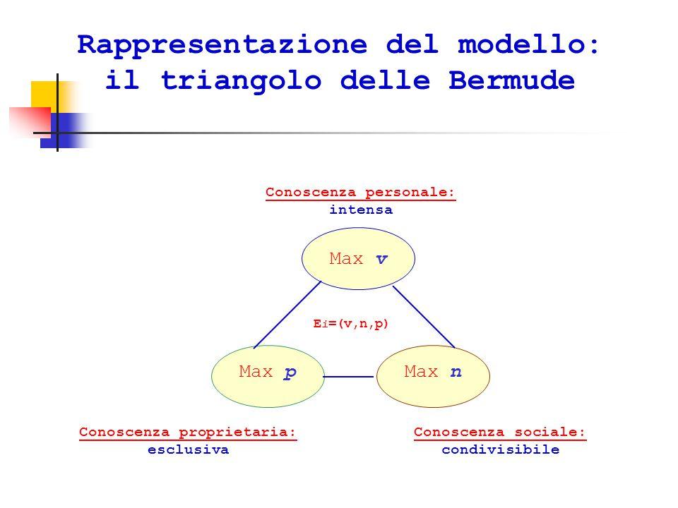 Rappresentazione del modello: il triangolo delle Bermude Max v Max nMax p Conoscenza personale: Conoscenza personale: intensa Conoscenza sociale: Conoscenza sociale: condivisibile Conoscenza proprietaria: Conoscenza proprietaria: esclusiva E i =(v,n,p)