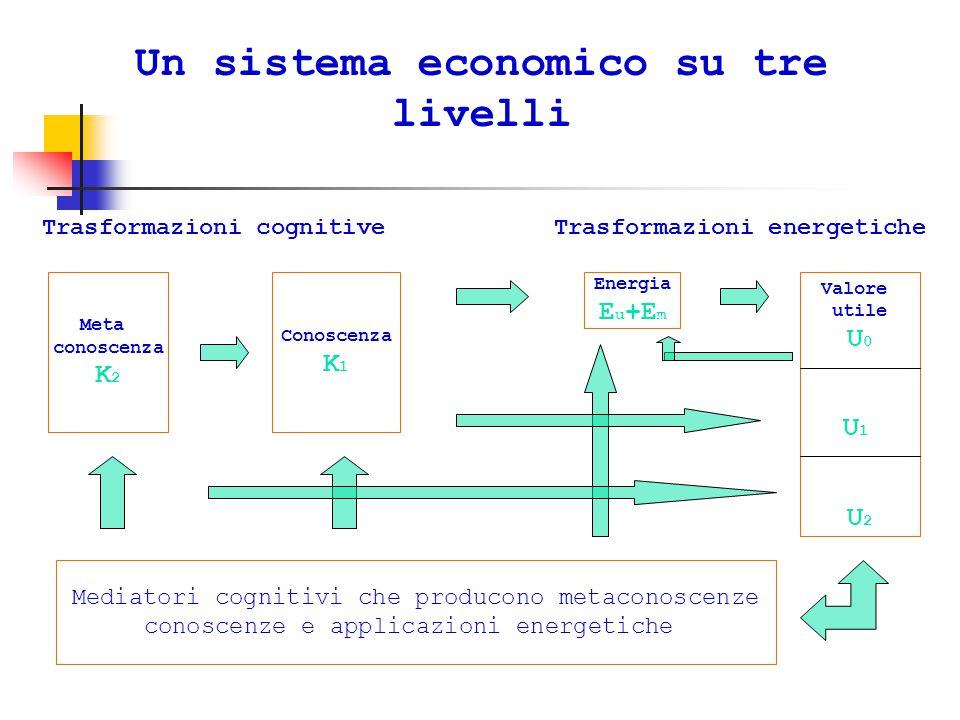 Un sistema economico su tre livelli Trasformazioni cognitiveTrasformazioni energetiche Meta conoscenza K 2 Conoscenza K 1 Energia E u +E m Valore utile U 0 U 1 U 2 Mediatori cognitivi che producono metaconoscenze conoscenze e applicazioni energetiche