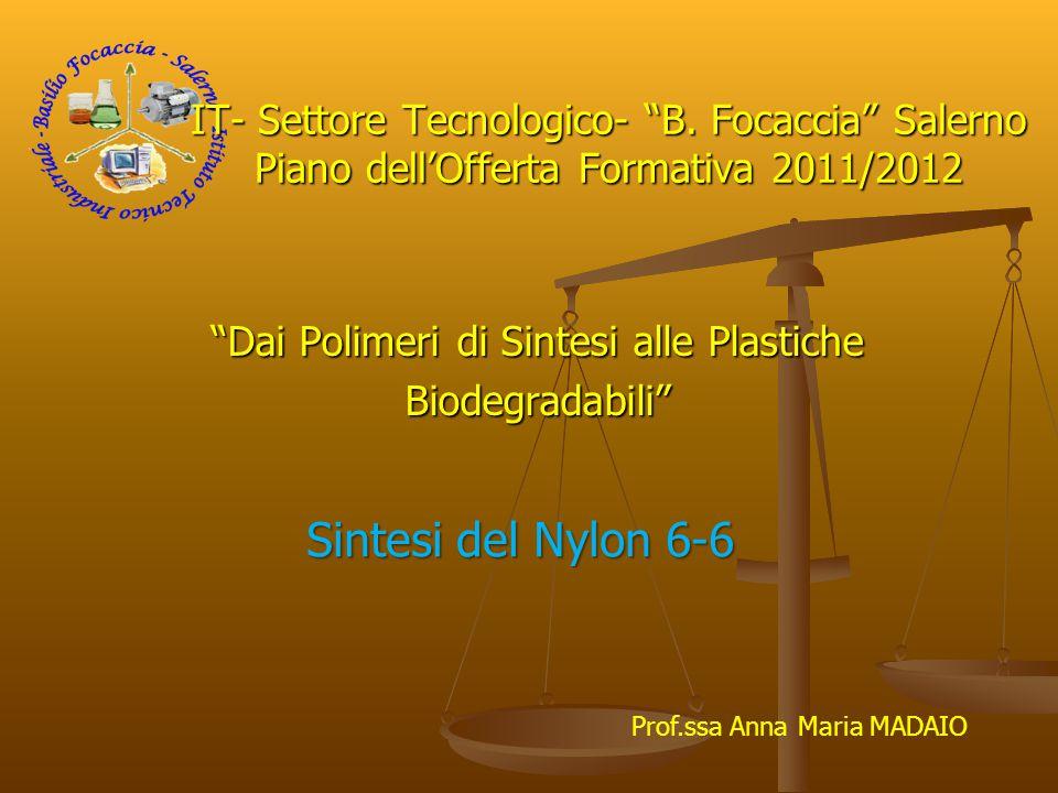 """""""Dai Polimeri di Sintesi alle Plastiche Biodegradabili"""" IT- Settore Tecnologico- """"B. Focaccia"""" Salerno Piano dell'Offerta Formativa 2011/2012 Sintesi"""