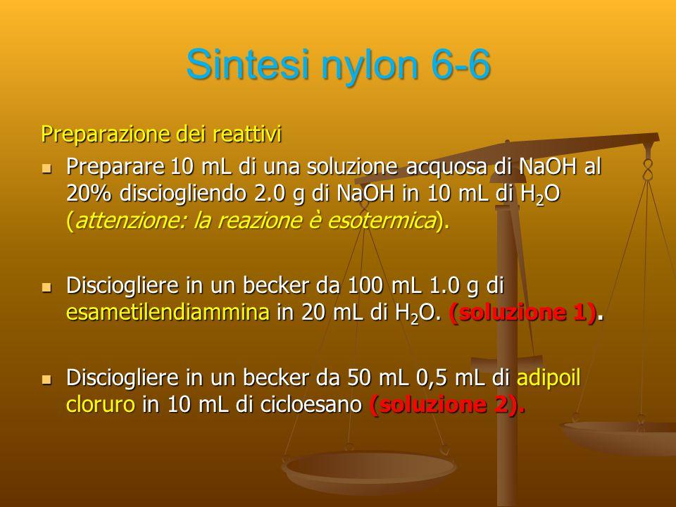 Sintesi nylon 6-6 Preparazione dei reattivi Preparare 10 mL di una soluzione acquosa di NaOH al 20% disciogliendo 2.0 g di NaOH in 10 mL di H 2 O (att